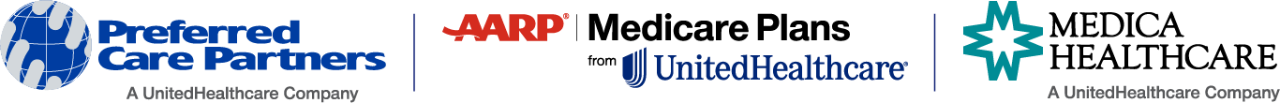 UnitedHealthcare Medicare South Florida logo; Preferred care partners logo; aarp Medicare Plans from unitedhealthcare logo; Medica healthcare logo